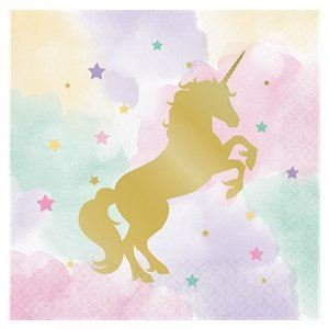Sparkle Unicorn Party Foil Stamped Luncheon 3ply Napkins Box 192 Napkins