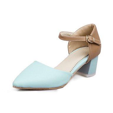 LvYuan Mujer-Tacón Robusto-Zapatos del club-Sandalias-Oficina y Trabajo Vestido Informal-PU-Azul Rosa Blanco White