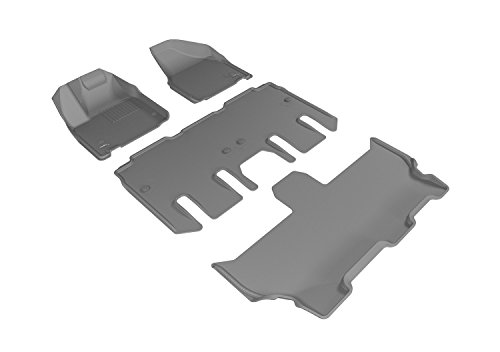 3D MAXpider Complete Set Custom Fit All-Weather Floor Mat for Select Chrysler Pacifica Models - Kagu Rubber (Gray)