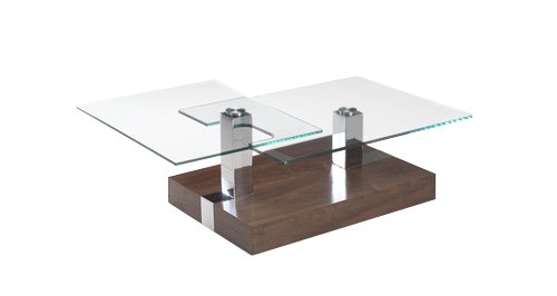 Collection Glass Top (Creative Images International Motion Collection Glass Top Coffee Table with Adjustable Configuration and a Walnut Base, Walnut)