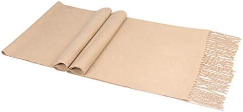 Oyfel Mens Plain Scarves Neck Cashmere Imitation Neck Scarf Soft Scarves Winter Autumn Tassel End Neck Warmer for Men 180 35cm