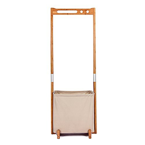 Segarty Wood Garment Racks - Multifunctional Clothes Drying Rack with Foldable Laundry Hamper - Portable Hanger Clothing Storage Organizer