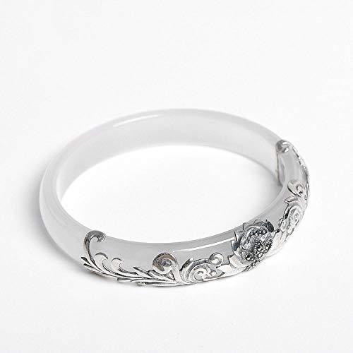 Thai Silver Gemstone Bracelet - Mayanyan Fashion Natural White Jade Bracelet Thai Silver Lotus Carving S925 Sterling Silver Birthday Present