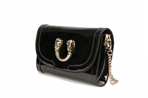 Paste Women's Split Leather Fashional Clutch Bag Chain Cross Body Strap Satchel Balck 3p0361-balck