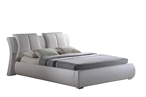 Global Furniture Upholstered Bed, Queen, White (Contemporary Leather Bed)