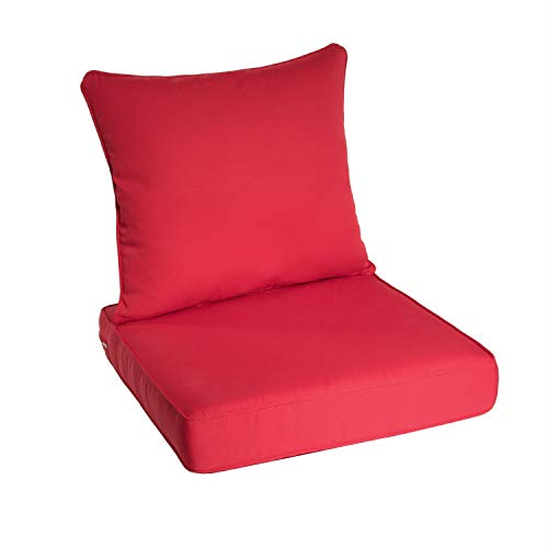 Art Leon Outdoor/Indoor Patio Deep Seat Chair Cushion Set, Including One Backrest and One Seat Cushion (Red) (Outdoor Martha Stewart Wicker Furniture)