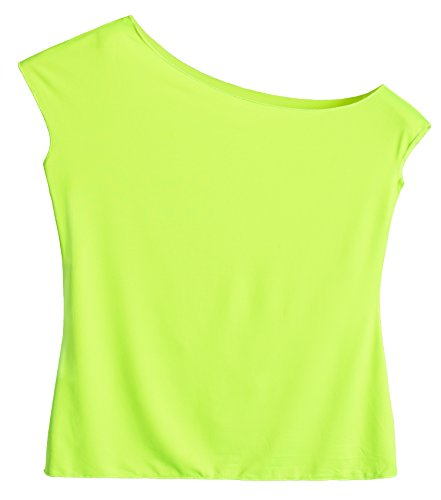 Women's Neon Green off one shoulder T-shirt in 3 Colors - S to XL