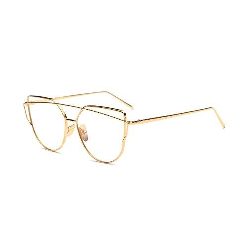 [Bonvince Cat Eye Mirrored Flat Lenses Street Fashion Metal Frame Women Sunglasses Gold/Clear] (Clear Cat Eye Glasses)