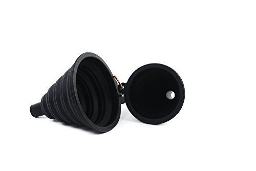 Cook With Color Set of 2 Black Silicone Collapsible Funnels for Liquids, Food and Spices