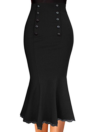 VFSHOW Womens Vintage Buttons Work Business Party Mermaid Pencil Midi Skirt 1327 BLK XS