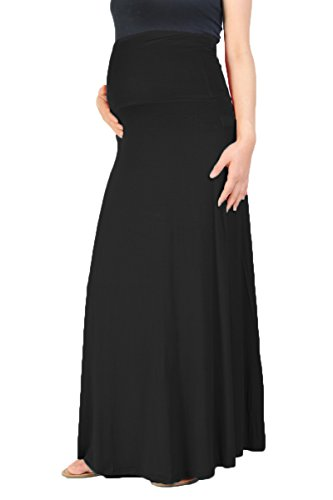 Plus Size Maternity Skirts - Beachcoco Women's Maternity High Waisted Fold Over Maxi Skirt (M, Black)