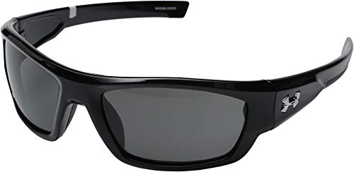 Under Armour Men's Sunglasses Rectangular, UA FORCE SHINY BLACK/CHARCOAL FRAME/GRAY LENS, M/L from Under Armour