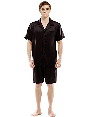 ElleSilk Men's Short Silk Pajama Set, Silk Nightwear, 22 Momme Mulberry Silk, Black, L by ElleSilk