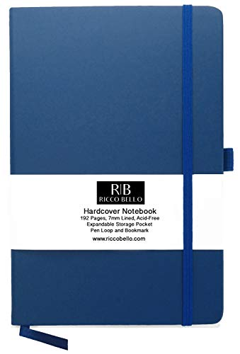 (RICCO BELLO Classic Ruled Notebook with Pen Loop / 5.7 x 8.4 inches (Royal)