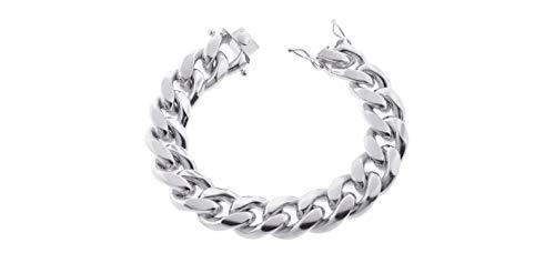 Sterling Silver Italian Solid Miami Cuban Link Chain Bracelet for Men 8.5MM 10.5MM- 925 Sterling Silver Curb Cuban Bracelet For Men, Silver Cuban Link Chain, Mens Silver Bracelet (8.5, 12.5MM)