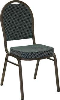 HERCULES Series Dome Back Stacking Banquet Chair with 2.5'' Thick Seat Green Patterned/Gold Vein Frame/Fabric