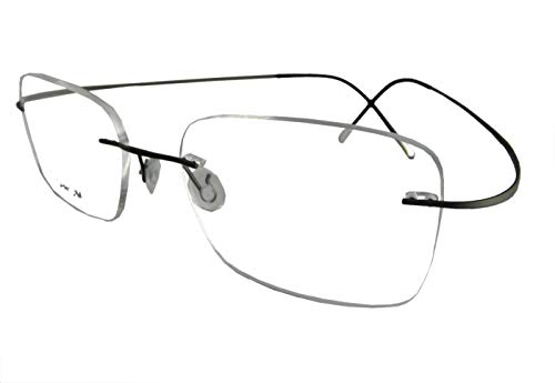 (Circleperson Rimless Titanium Eyeglass Frames RX-able Men Hingeless Light Weight 55-18-140 (Lens Width 55 mm, Dark Gray))