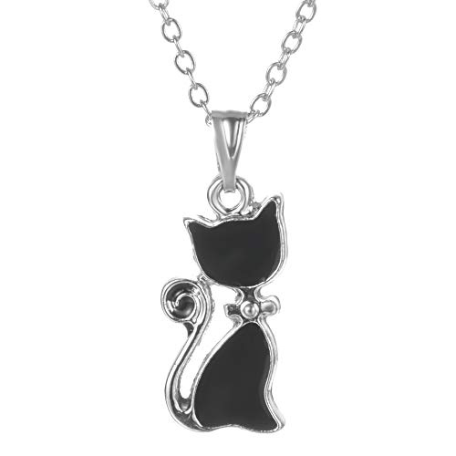 (Yves Renaud 0.6″ Catty Black Enameled, Silver Trimmed Kitty Cat Charm Pendant Necklace on a 16-18