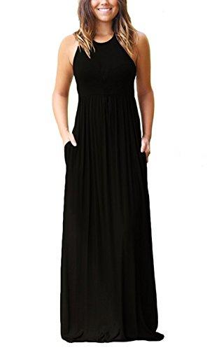 Euovmy Womens Sleeveless Dress Casual Plain Loose Summer Long Maxi Dresses with Pockets