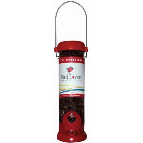 Droll Yankees BL8RS Bird Lovers 8-Inch Sunflower/Mixed Seed Feeder with Red Accents