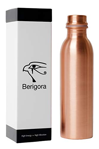 Berigora 30oz Pure Copper Water Bottle Ayurvedic