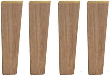 キャビネットヴァニティカウチチェアドレッサー交換用脚、無垢材家具脚4本セット、オークソファフィート、正方形の傾斜したテーブル脚、耐荷重400kg(6インチ/ 15 cm)