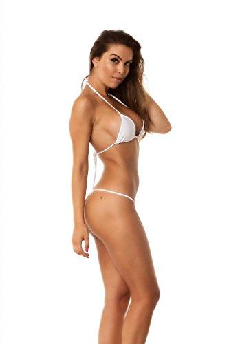 963af554e4 COQUETA Brazilian Teeny Micro Thong Mini Bikini Swimsuit G String  WHITE-SMALL