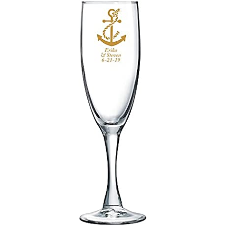 Personalized Color Printed Champagne Flute Anchor Gold 48 Pack