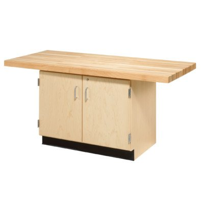 Diversified Woodcrafts WW231-1V Solid Maple Wood 2 Station Workbench with 1 Vise, Doors and Adjustable Shelf, Maple Top, 64'' Width x 32'' Height x 28'' Depth