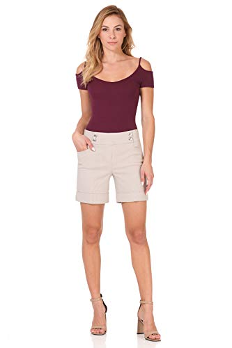 Rekucci Women's Ease Into Comfort 6 inch Cuffed Short with Button Detail (18,Khaki/White Stripe)
