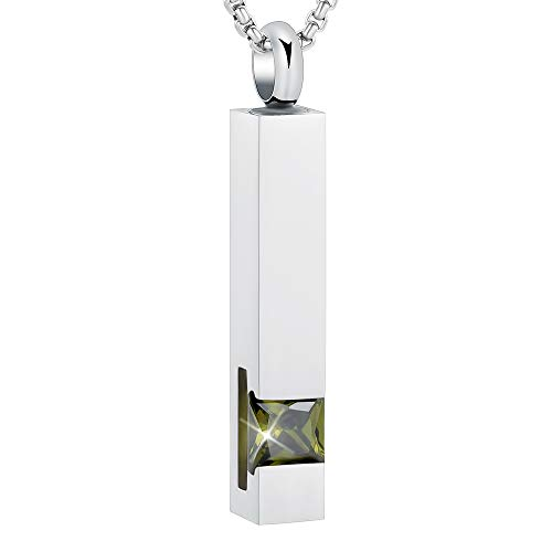 EternityMemory Inlay Multi-Colored Square Crystal Bar Cremation Urn Necklace Holder for Ashes - Engravable (Olive Green Stone)
