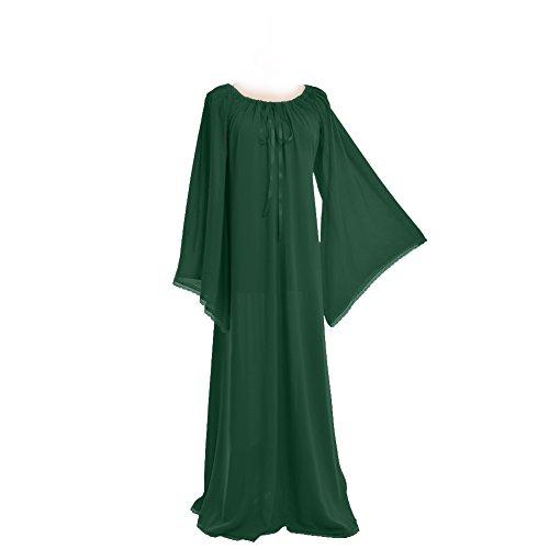 [BLESSUME Medieval Renaissance Women Green Gown Dress] (Green Medieval Dress)