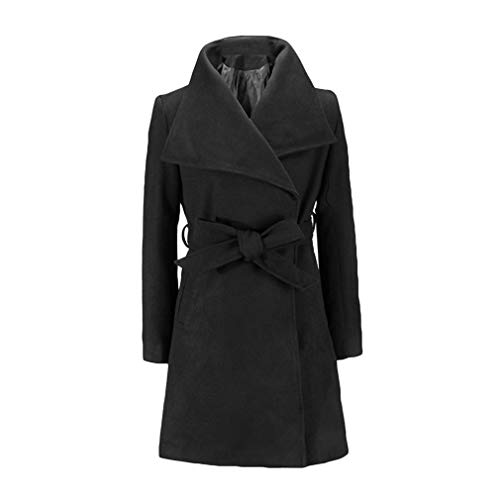 Coat Blend Collar Moda Fangcheng Streetwear Blends Donna Big Slim Da Nero Giacche Tie Cotton Pocket Solid Elegant Ladies Belt Bow Z4vSU