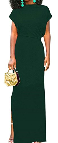 Dress Split Short Solid High Long Women's Bodycon Domple Cocktail Sleeve Green wtOxzpIqn