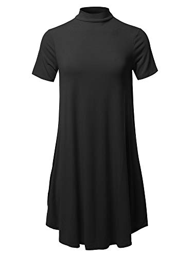 Awesome21 Solid Mock Neck Short Sleeve Tunic Dress Black XL
