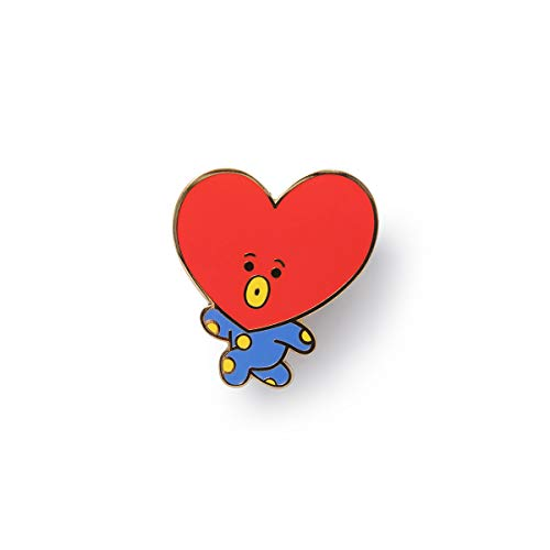 BT21 Official Merchandise by Line Friends - TATA Character Metal Pin Badge, Red