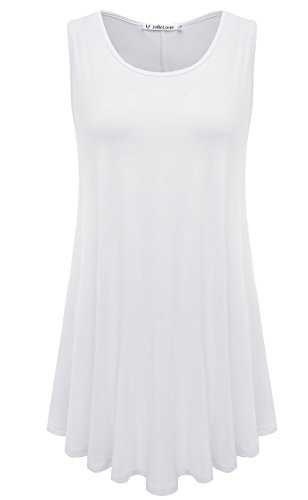JollieLovin Womens Sleeveless Comfy Plus Size Tunic Tank Top with Flare Hem - White, 3X]()