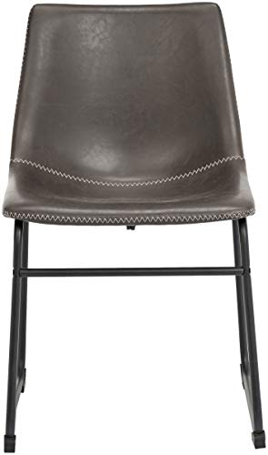 "Phoenix Home PU Leather Dining Chair Set of 2, 18.11"" Length x 21.65"" Width x 30.7"" Height, Gray - Dining chair (set of 2) offers a clean, simple profile and vintage-inspired good looks Ergonomic one-piece molded-plastic bucket seat with rounded back Foam cushioning and PU-leather upholstery for added comfort and strength; zigzag white-thread double stitching along the edge - kitchen-dining-room-furniture, kitchen-dining-room, kitchen-dining-room-chairs - 31WEiXRjD7L -"