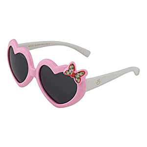 Kids Flexible Rubber Sunglasses for Boys and Girls - Pink and White Heart Shaped Bendable and Unbreakable Frame with Butterfly - 100% UV Protection and Polarized Lenses - By Optix 55