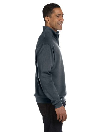 Jerzees mens 8 oz. 50/50 NuBlend Quarter-Zip Cadet Collar Sweatshirt(995M)-BLACK - 50 Calibre Zip