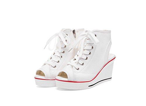 de la Deporte del Negro Botines tamaño Las Las Zapatillas Blanco de Gruesos Lona Resorte Botines de 41 tacón Toe de Blanco señoras Zapatos para de Peep Mujeres Color Novedad de 1XqTS8wSx6