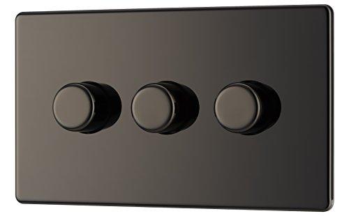 BG Electrical FBN83P-01 Screwless Flat Plate 400W 3 Gang 2 Way Push Dimmer Switch, 400 W, Black Nickel