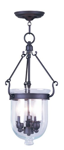 Livex Lighting 5063-07 Jefferson 3 Light Bronze Bell Jar Hanging Lantern with Clear Glass