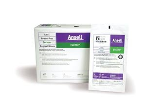 Ansell 5785002 Encore Damp-Hand-Donnable Powder-Free Latex Surgical Gloves, Size 6.5, 50 Pairs per Box by Ansell