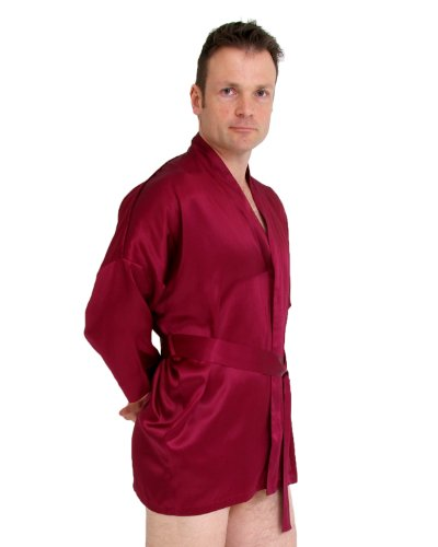 Short silk kimono - size: XL - colour: burgundy by The House of Silk