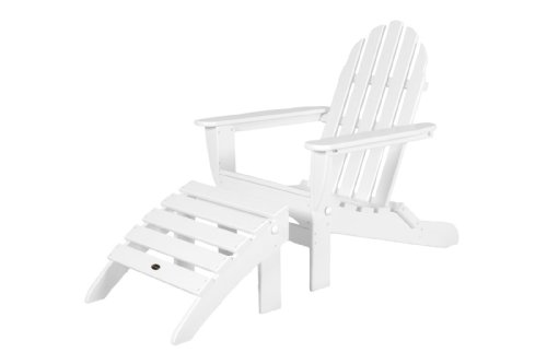 POLYWOOD PWS136-1-WH Classic 2-Piece Adirondack Chair Set, White