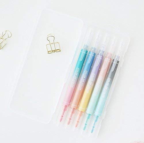 LIVEWORK 10 Colors Twin Pen Set - Dual Tip Brush Pen Dual Colors 5 Pen Set in Case (10 Colors Dual Tip Set) ()