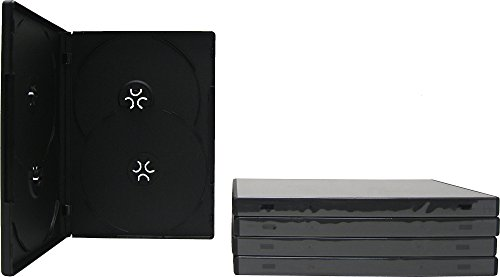 5 Black Thin Quad Overlap DVD Empty Replacement Boxes with Wrap Around Sleeve #DV4R14BK (14mm) (4DVD) ()