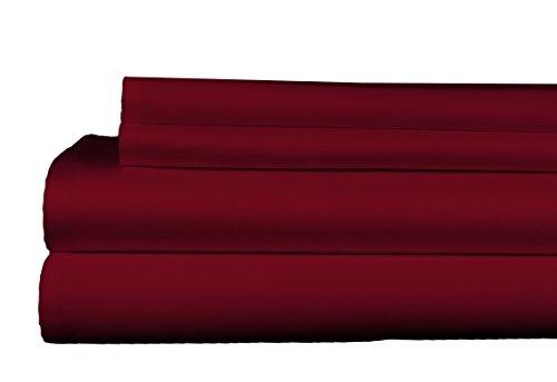 Brielle 400 Thread Count Egyptian Cotton Sateen Fine Sheet Set, King, Burgundy - 1000tc King Sheet Set