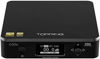 Topping D50s DAC 2 ES9038Q2M 32bit 768kHz DSD512 XMOS XU208 Bluetooth LDAC HiFi Decoder Black